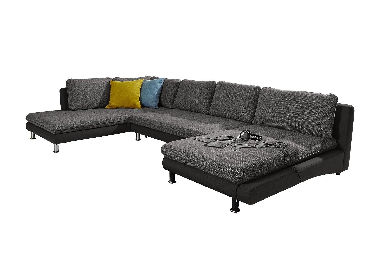 Wohnlandschaft Loungines/Ottomane-2 Bett-Longchair/379x79x222 cm/Bering schwarz weiss 90-Inari schwarz online kaufen