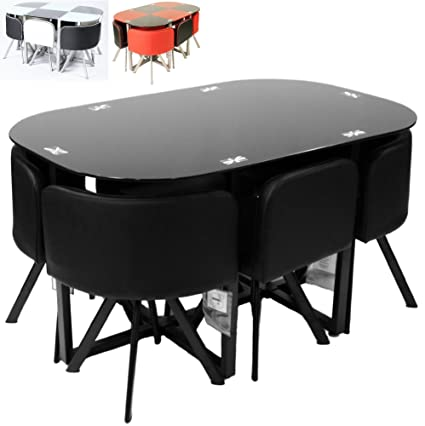 Charles Jacobs Premium Space Saving Dining Table Set With 6 Cushioned Seats - Black