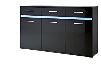 Germania 3361-83 Sideboard GW-Melbourne, 144 x 86 x 40 cm, schwarz