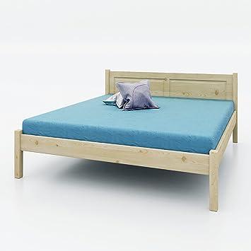AI SEN Kiefer-Massivholz-Bett Veton 4, 180x200 cm, natur lackiert
