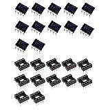 12 Sets NE555P NE555 555 Timer IC with Premium DIP 8 Sockets NE555P