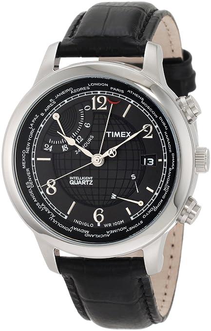 Timex Men's T2N609 Intelligent Quartz Traveller Series World Time Black Leather Strap Watch 天美时 世界时间旅行系列 石英腕表 专利IQ高精度机芯-奢品汇 | 海淘手表 | 腕表资讯