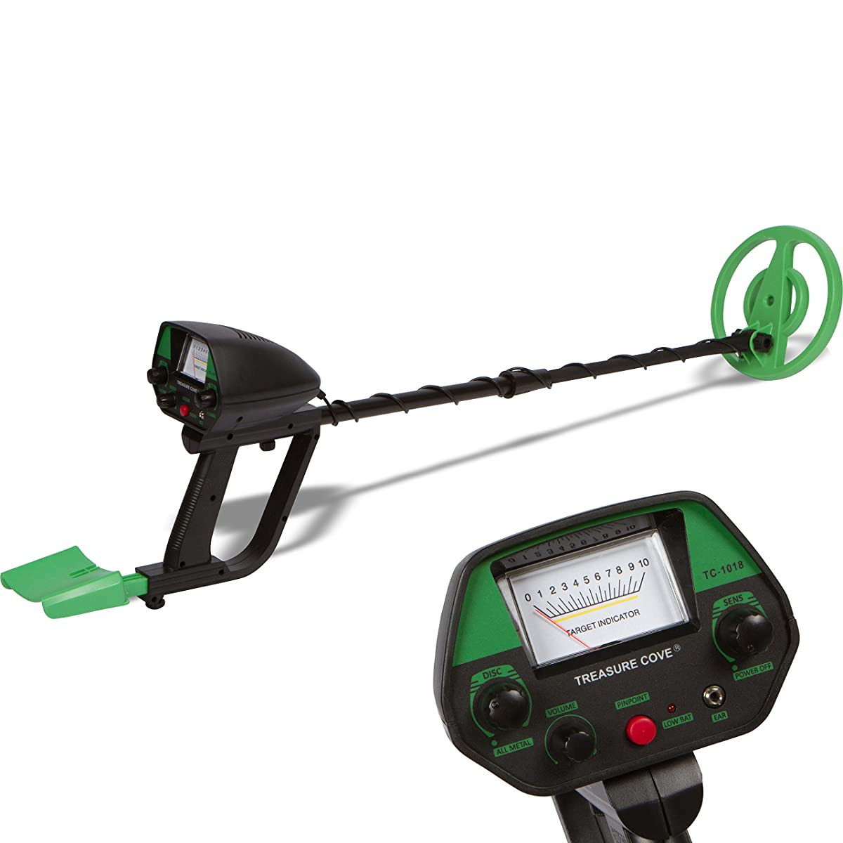 Treasure Cove Metal Detector Waterproof Metal Detectors Starter Kit with Pinpointer & Discrimination Mode & 10-year Warranty - Model TC-1018