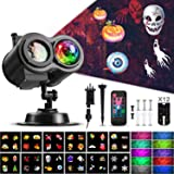 Christmas Ocean Wave Snowflake Light Projector, ACVCY Outdoor Waterproof 2-in-1 Moving Patterns Rotating LED Projection Lamp for Christmas Halloween Party Garden Decorations - 12 Slides 10 Colors (Color: Black)