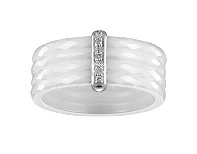 Ceranity Women's Ring 925 Sterling Silver Diamond White Ceramic 0,65 g 1-18 / 0009-B