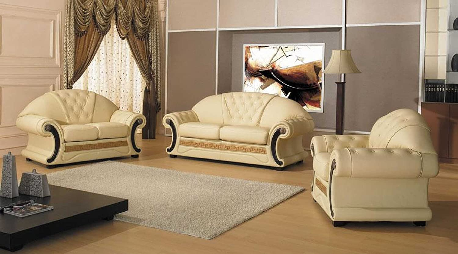 Vig Furniture Cleopatra - Traditional Leather Sofa Set