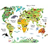 HomeEvolution Large Kids Educational Animal Landmarks World Map Peel & Stick Wall Decals Stickers Home Decor Art for Nursery (Color: Multicolour, Tamaño: 40 inch x 12 inch)
