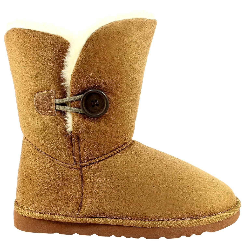 Damen Schuhe Single Knopf Fell Schnee