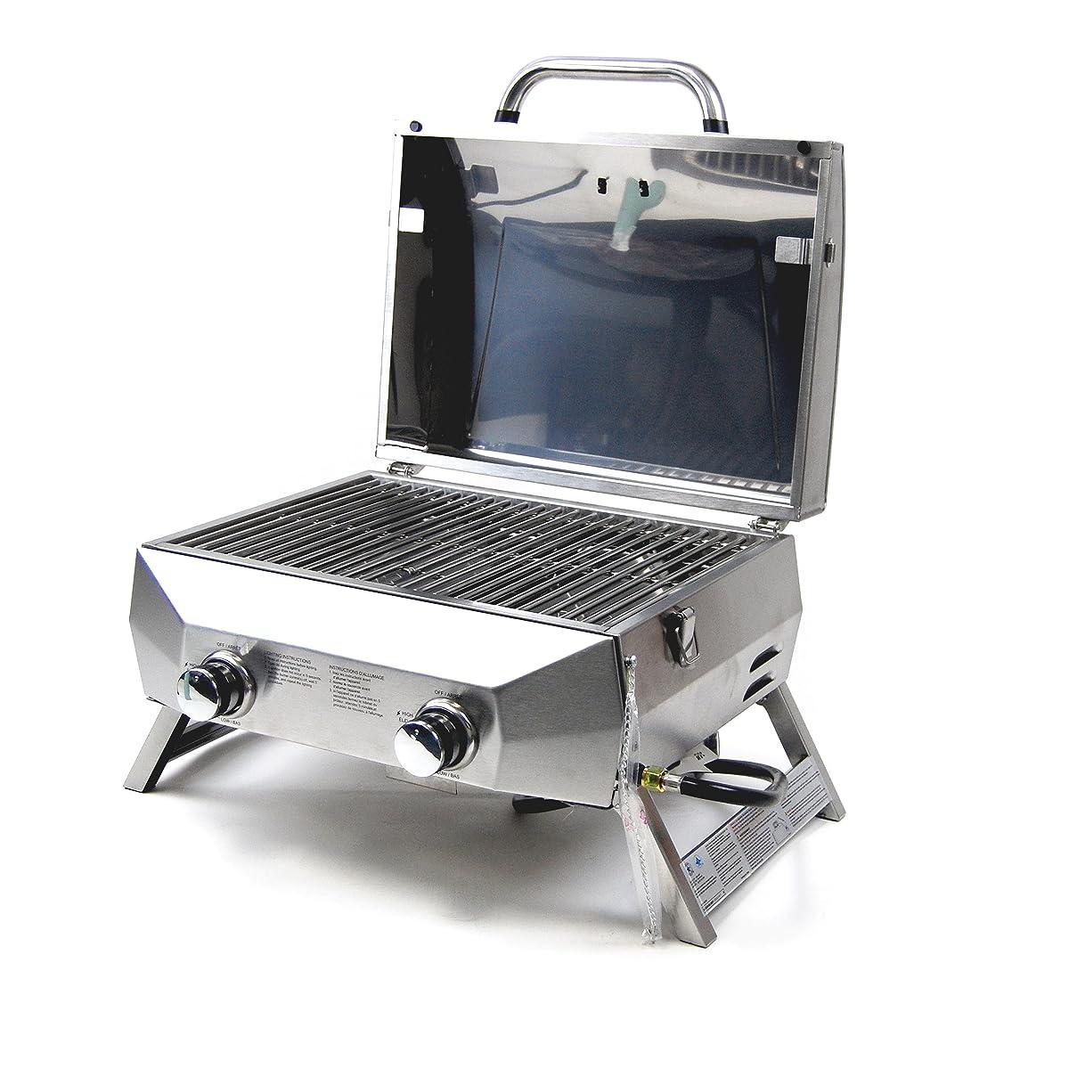 SUPERSPACE 2 Burner Stainless Steel BBQ Tabletop Propane Gas Grills, 20,000 BTU