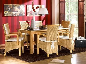 Massivum Tisch mit 6 Rattanstuhle Natura Milano II, Holz, 90 x 150 x 75 cm
