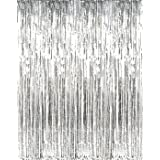 Anasu 2 Pack Foil Fringe Curtains Photo Backdrop, Shiny Metallic Tinsel Party Door Curtain Photo Booth Props Birthday Wedding Bridal Baby Shower Party Decorations (Silver) (Color: Silver, Tamaño: Medium)