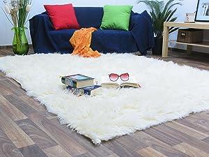 Flokati Teppich Qualität 1000 natur Kult Shaggy Teppich Hochflor Langflor 100% Schurwolle, Größe 195 cm rund Kundenbewertung und weitere Informationen