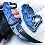 Snake Eye Tactical Everyday Carry Karambit Style Ultra Smooth One Hand Opening Folding Pocket Knife - Ideal for Recreational Work Hiking Camping (Blue) (Color: blue)