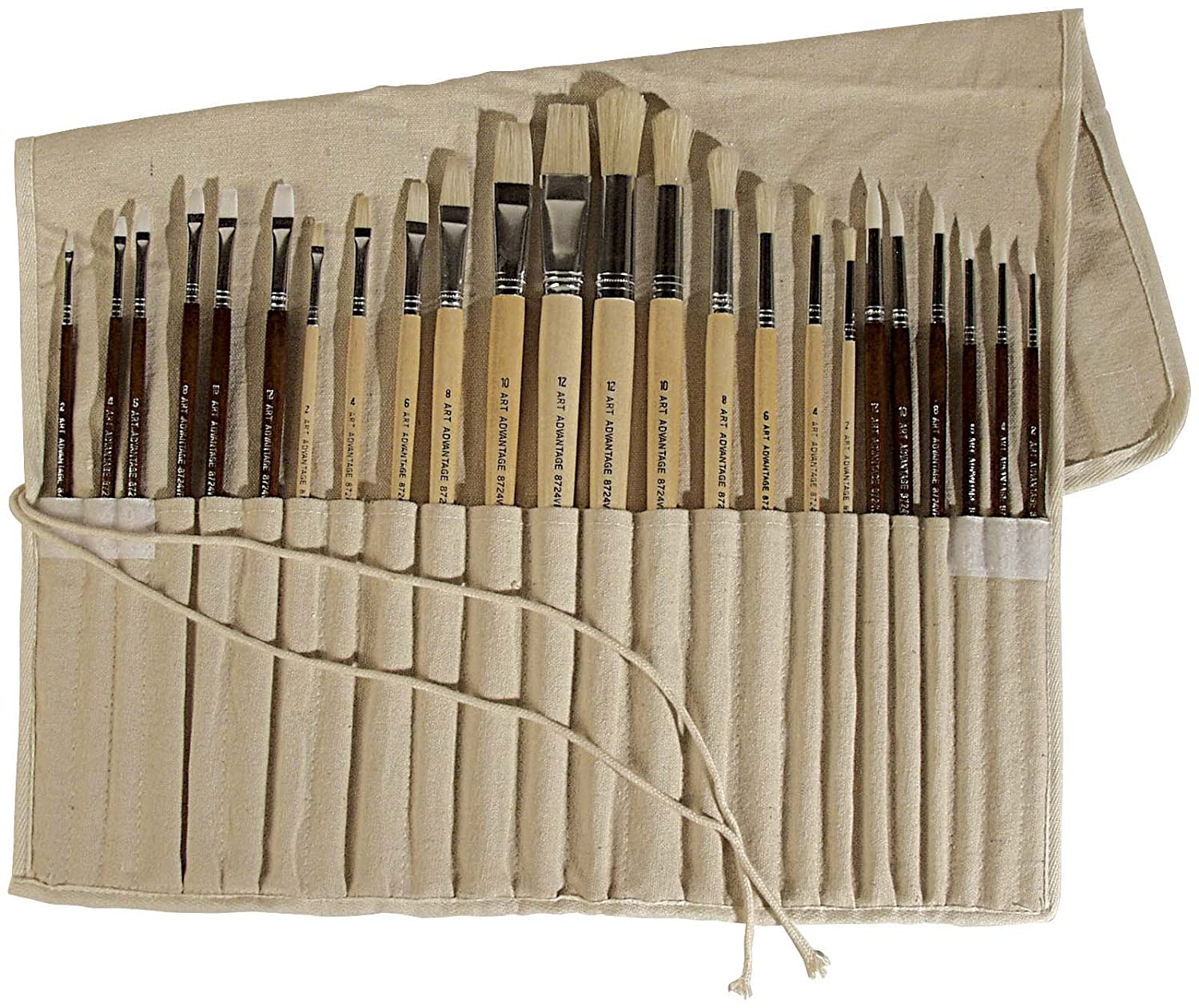 New 24 art advantage oil acrylic paint brush set synthetic for Canvas roll for painting