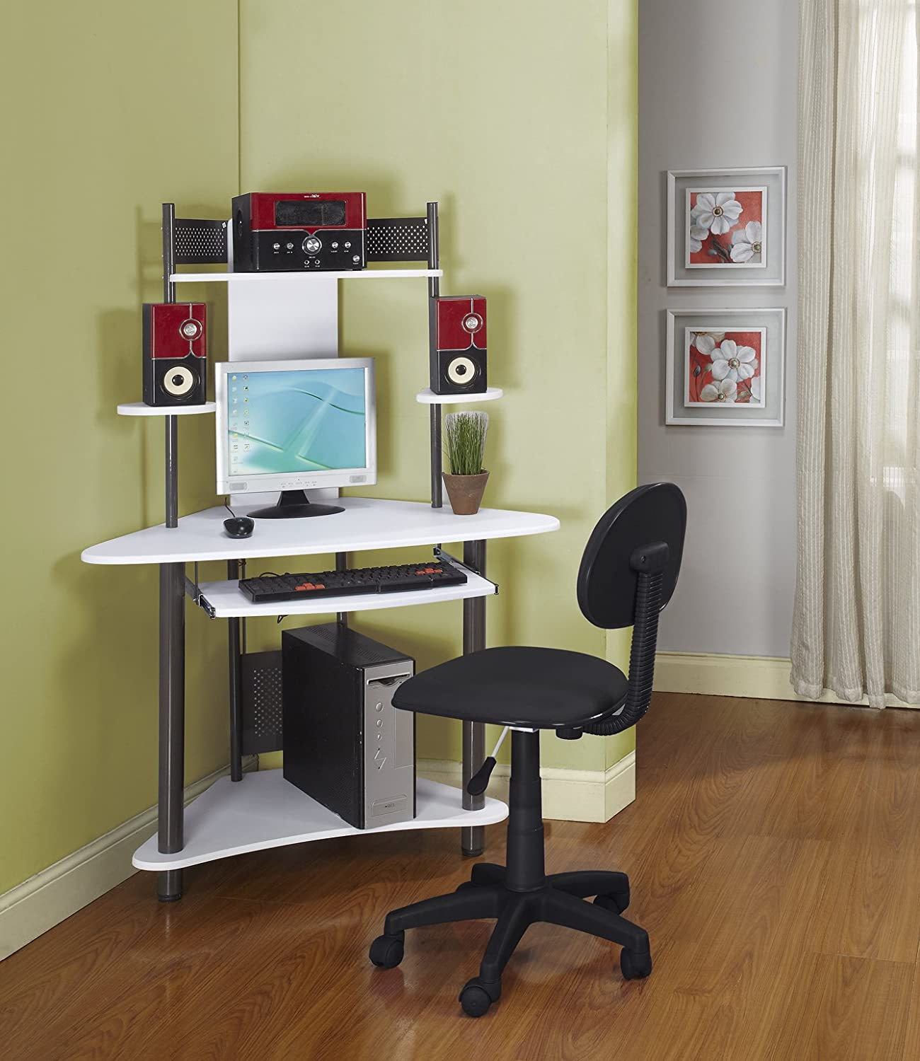pewter finish corner workstation kids children 39 s computer desk