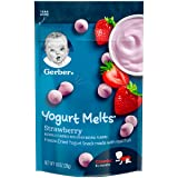Gerber Yogurt Melts Freeze-Dried Yogurt Snack made with real fruit, Strawberry, 1 oz (Pack of 7)