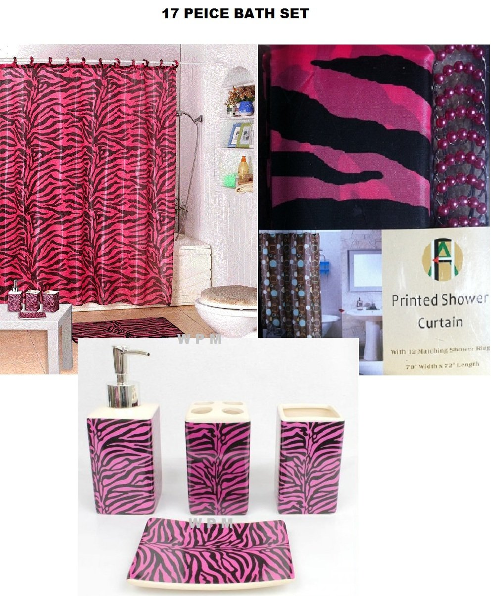 Purple cheetah print curtains - Purple Zebra Print Curtains 17 Piece Bath Accessory Set Pink Zebra Shower Curtain With Decorative