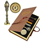 Samyo Creative Romantic Stamp Maker Classic Old-Fashioned Style Brass Color Wax Seal Sealing Stamp Vintage Antique Alphabet Initial Letter Set - (Letter Q) (Color: Letter Q)