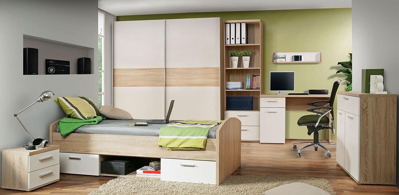 Jugendzimmer mit Bett 90 x 200 cm Eiche Sonoma / Absetzungen weiss online kaufen