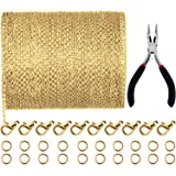 Jovitec 39.4 Feet 2 mm Link Chain Necklace Jewelry Plier with 30 Pieces Lobster Clasps and 100 Pieces Jump Rings for Jewelry Accessories DIY (Gold Color) (Color: Gold Color)