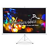 Homevibes 100 inch 16:9 Projector Screen with Stand Pull Up Portable Tripod Movie Screen Video Projection Screen for Home Theater Outdoor, 4K 3D HD Matte White Manual Adjustable Aspect Ratio, 1.3 Gain (Color: Projector Screen with Stand, Tamaño: 100 inch 16:9)