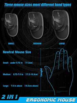 Newtral Large Size (Small,Medium,Large Available) Semi-Vertical Wireless Ergonomic Mouse,All Buttons Programmable, 800/1600/2400 DPI, Detachable Magnetic Palm Support (L) (Color: Large Black)