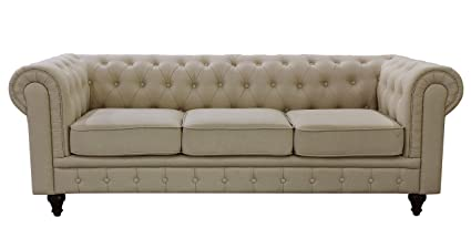 US Pride Furniture S5071-S Linen Fabric Chesterfield Sofa Set, Beige