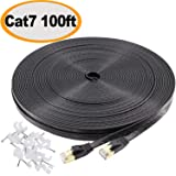 Jadaol Cat 7 Ethernet Cable 100 ft Black 10GB Fastest Shielded (STP) Computer Internet Cable - Flat LAN Network Cable with Snagless Rj45 Connectors– 100 feet Black (30 Meters) (Color: 100Ft-Blk, Tamaño: 100 Feet)