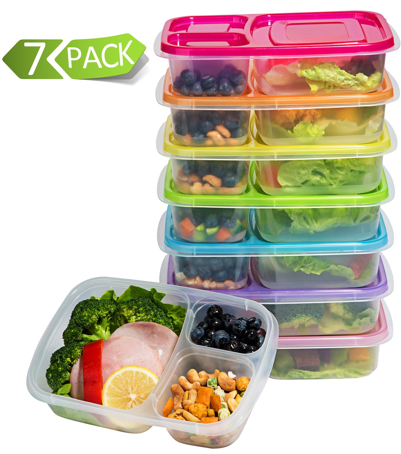 Mealcon Meal Prep Containers 3-Compartment Lunch Boxes