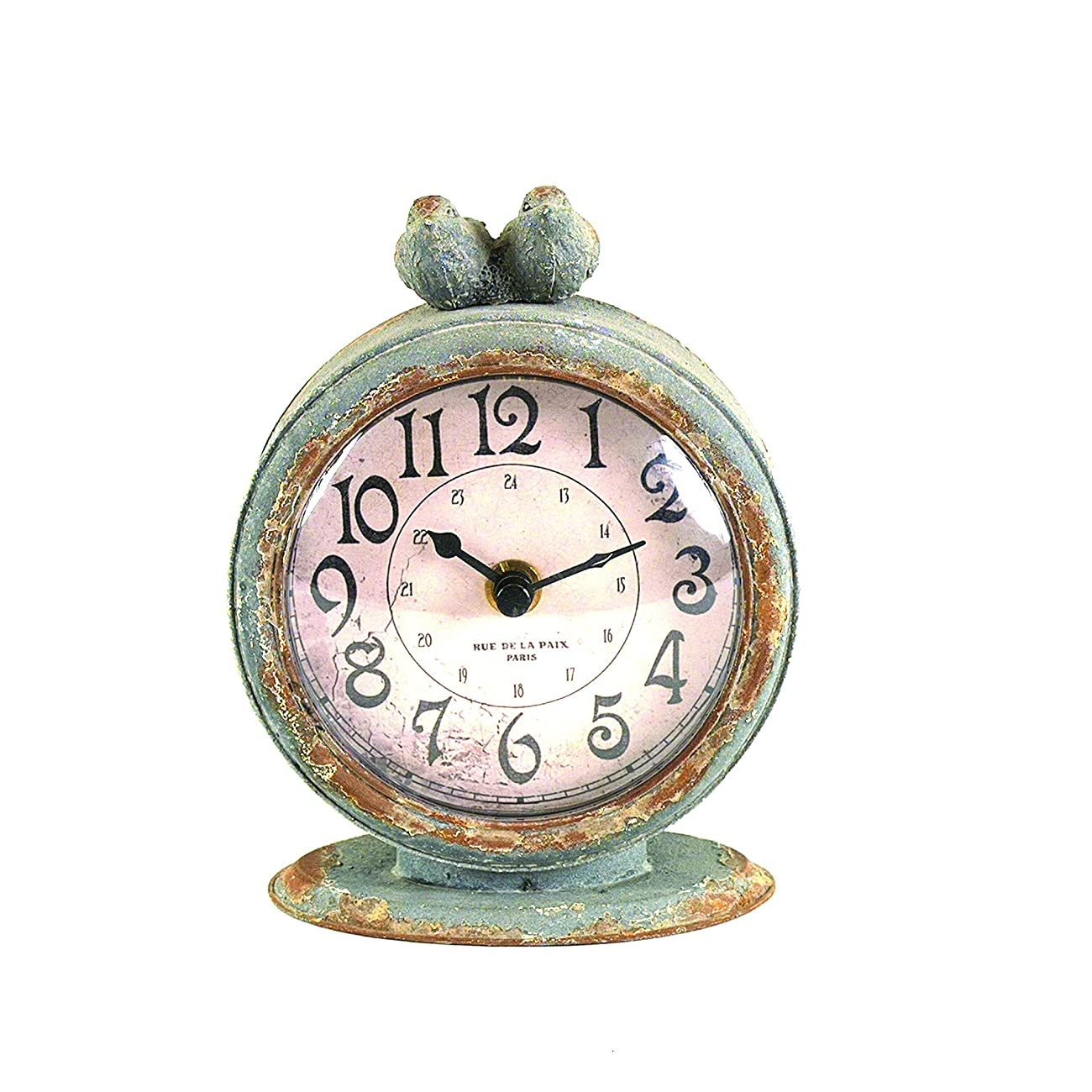 Creative Grey Pewter Table Clock with Bird 0