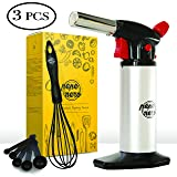 Cooking Torch Set For Creme Brulee By Pepe Nero: Culinary Torch - Kitchen Torch - Refillable Aluminum Blow Professional Butane Adjustable for Baking BBQ Chef - Gifts: Whisk & Measuring Spoons & Ebooks (Color: Silver)
