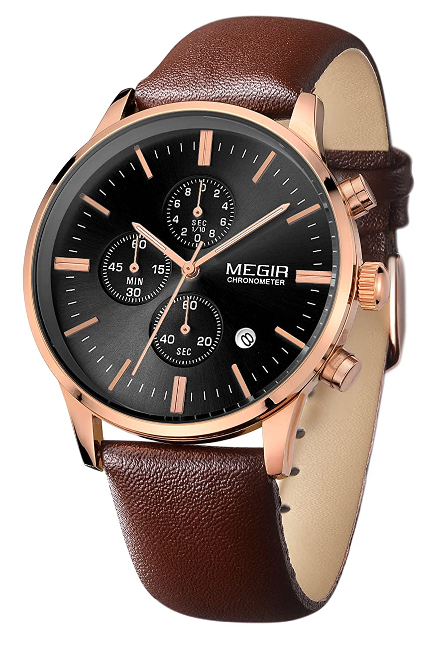 Megir Mens Vintage Chronograph Luminous Brown Leather Quartz Wrist Watches 1