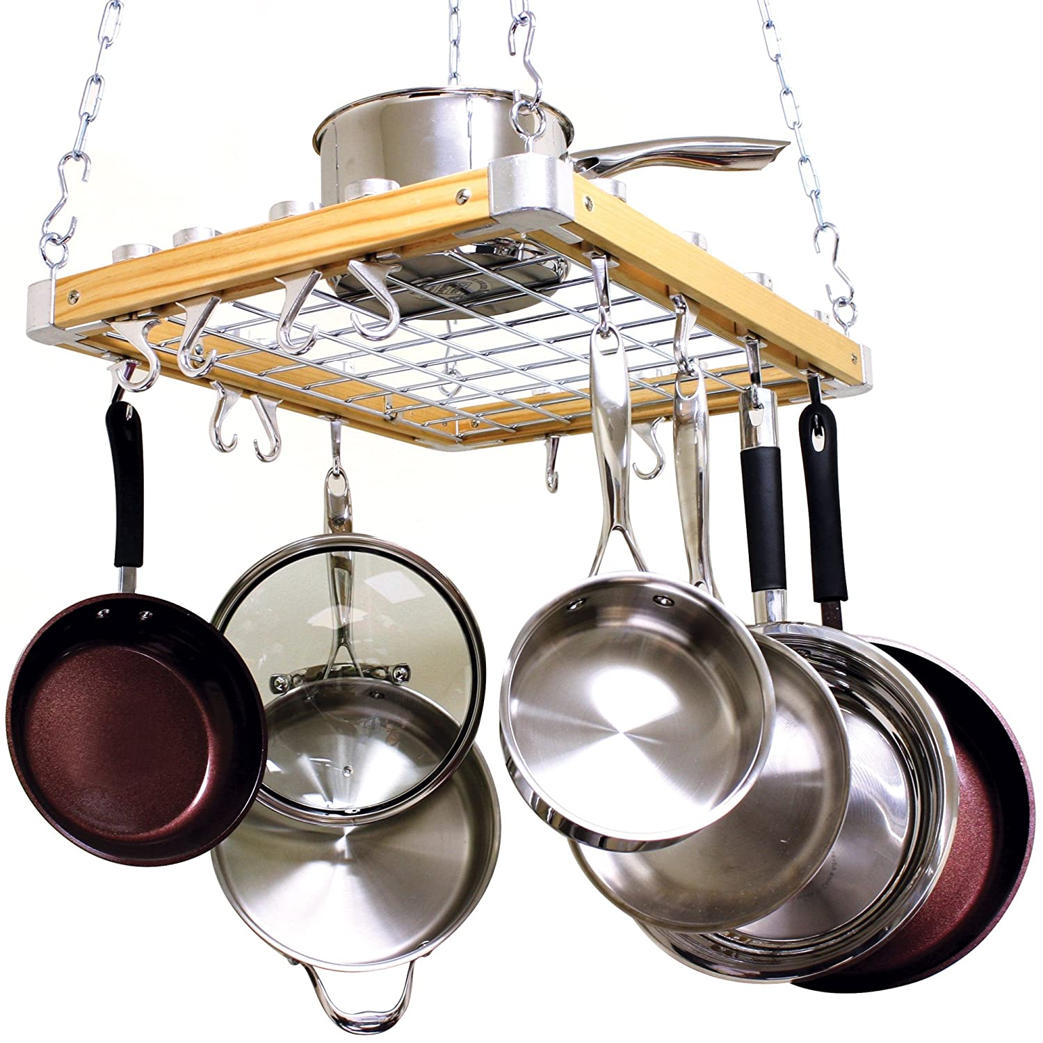 Cooks standard ceiling mount wooden pot rack new free for Pot racks for kitchen