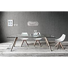 Delta: Modern Dining Glass Extendable Table. Natural Oak Legs.