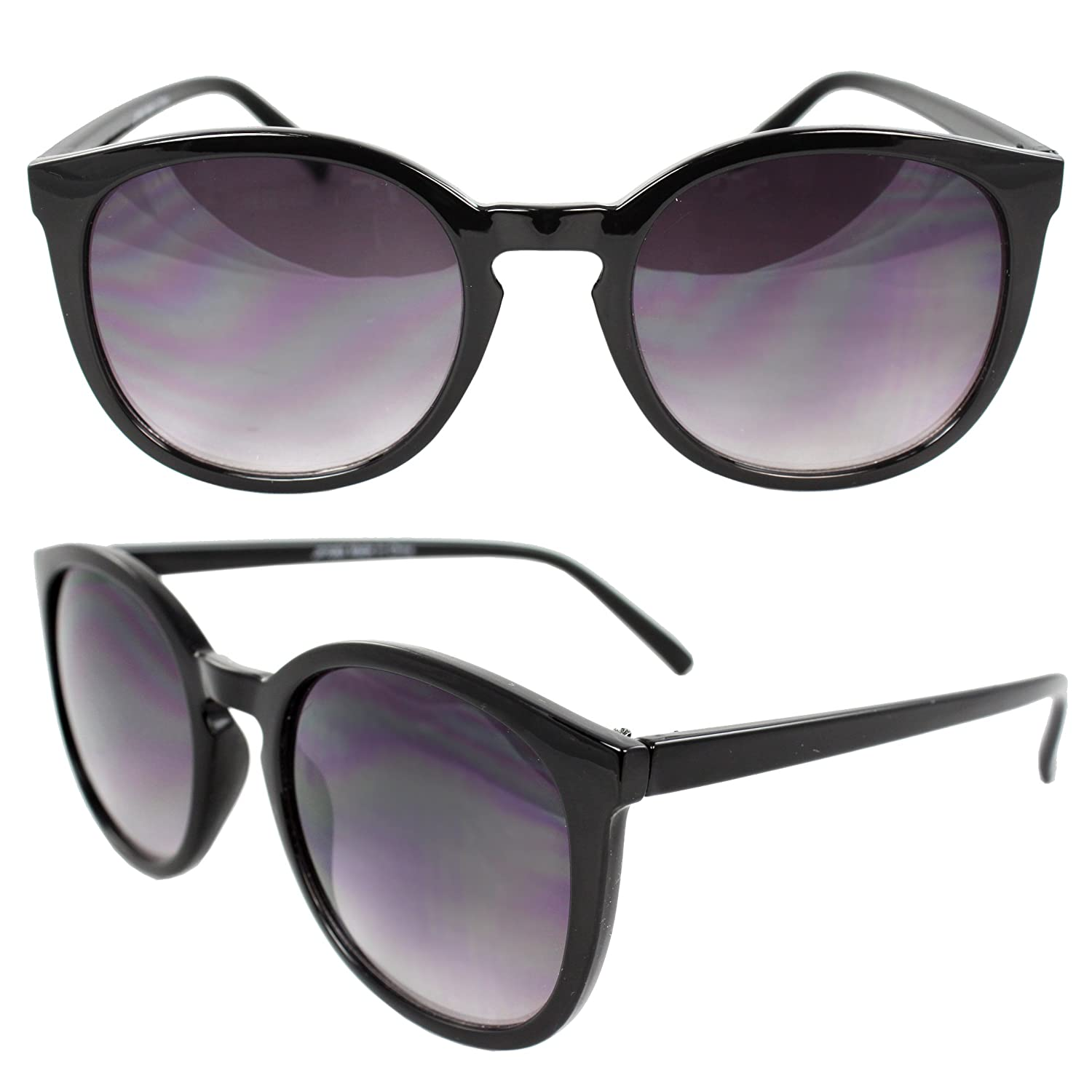 SWG Eyewear Retro Oval Gangnam Style Fashion Sunglasses Black Frame Purple Black Lenses for Women and Men