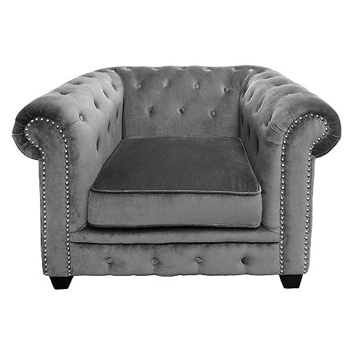 Premier Housewares 2404076 Regents Park Chesterfield Sedia, Velluto/Borchiette, Grigio