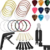 Jetec 41 Pieces Guitar Strings Changing Kit Guitar Tool Kit Guitar Picks Capo Pins 3 in 1 Guitar String Winder Cutter and Bridge Pin Puller