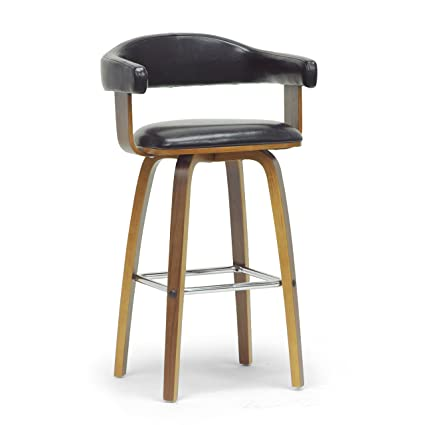 Metro Shop Baxton Studio Quigley Walnut and Black Modern Counter Stool-Quigley Walnut and Black Modern Counter Stool