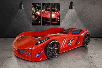 CAR BED - Speedyboy Supercar racer 3ft bed - LED LIGHTS + SOUND - Red - Childrens kids boys beds