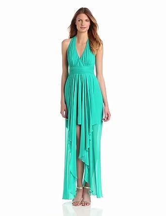 Nicole Miller Women's Halter Viscose Gown, Caribbean, 4