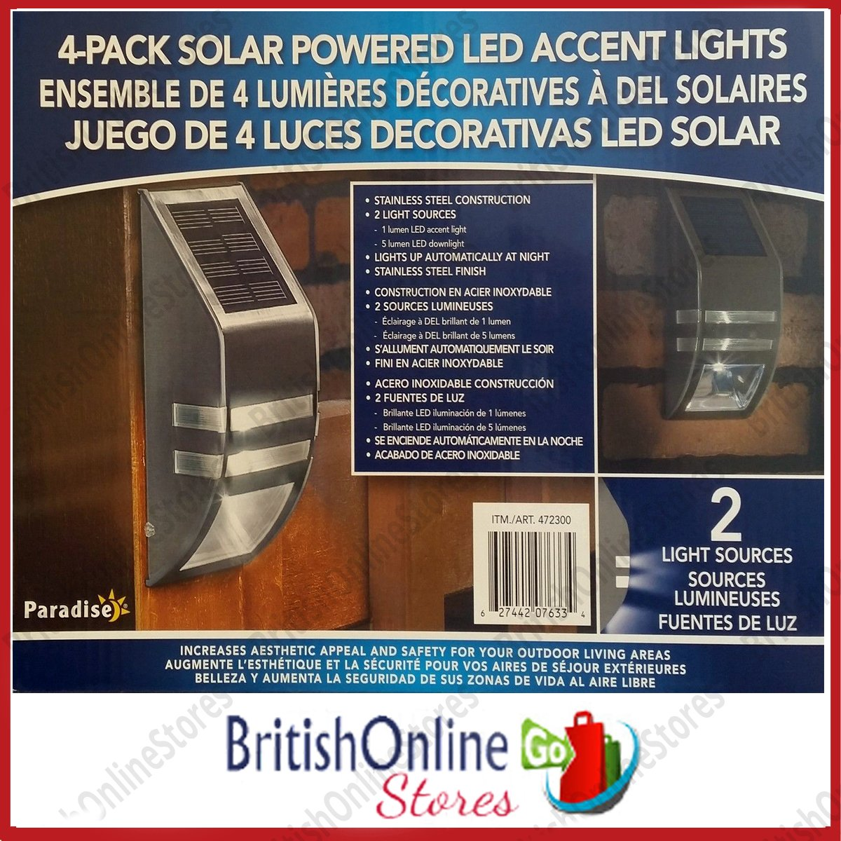 Paradise 4 Pack Solar Powered LED Accent/Security Light