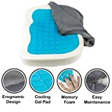 Orthopedic Gel Comfort Memory Foam Seat Cushion, Office Chair Wheelchairs and Car Gel Seat Pads, For Coccyx Lower Back Support, To Relieve Back & Tailbone Pain and Sciatica (Grey) (Color: Gray)