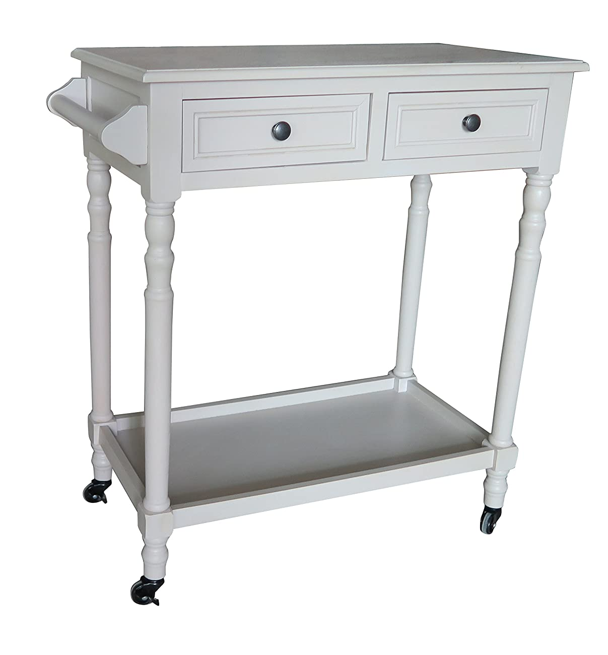 Urbanest Hampton Bar Cart with Shelf and Wheels, Vintage Grey 0