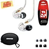 Shure SE215 Sound Isolating Earphones - Clear Bundle with Triple Flange Sleeves, Sleeve Fit Kit, Carrying Case, and Austin Bazaar Polishing Cloth