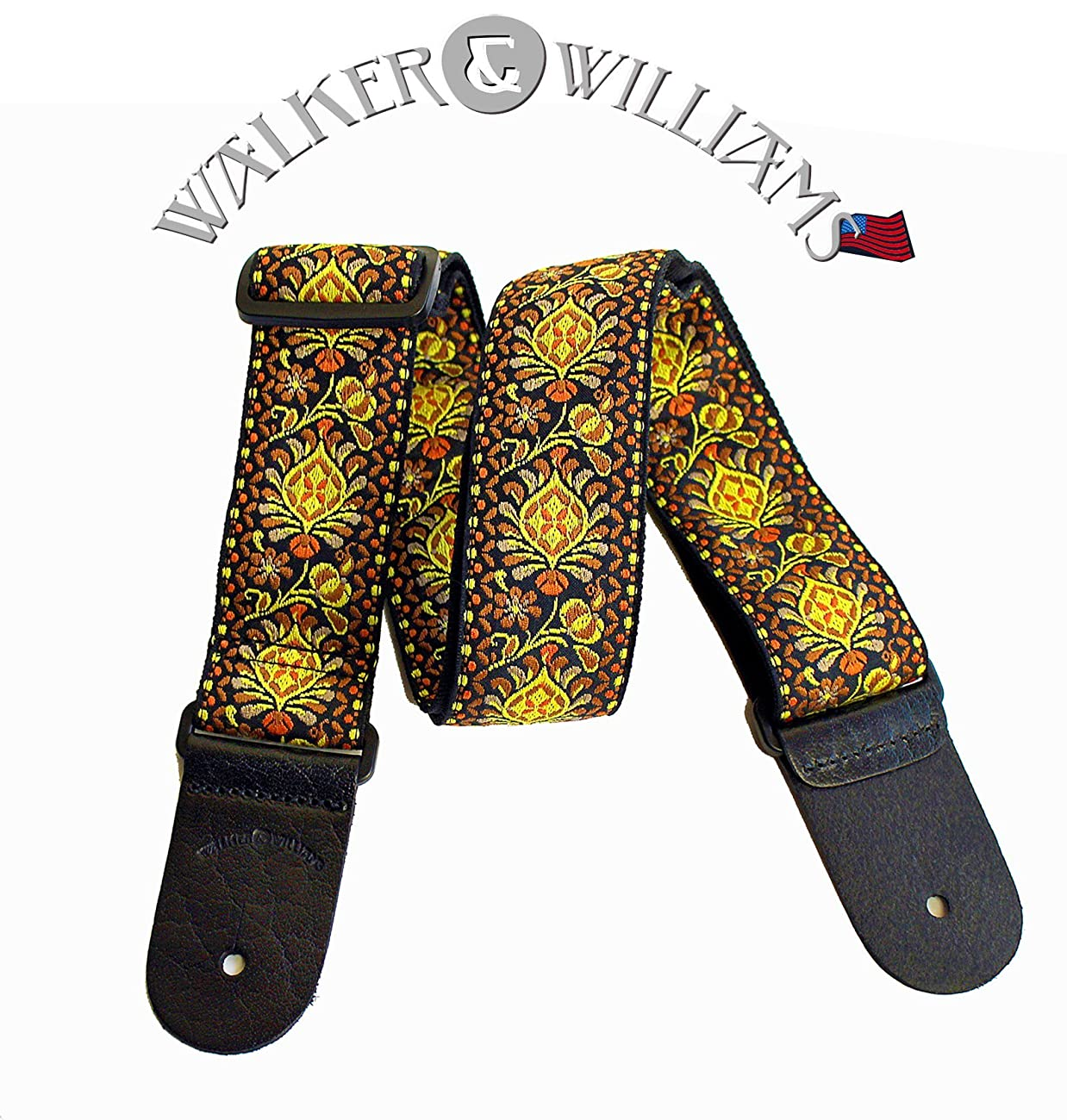 Walker & Williams H-03 Mandala Sun Woven 60's Style Hootenany Hippie Guitar Strap 0