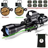 Hunting AR15 Tactical Combo Rifle Scope C4-16x50EG with Green Laser and 4 Holographic Red&Green Dot Sight (12 Month Warranty) for 22&11mm Weaver/Picatinny Rail Mount
