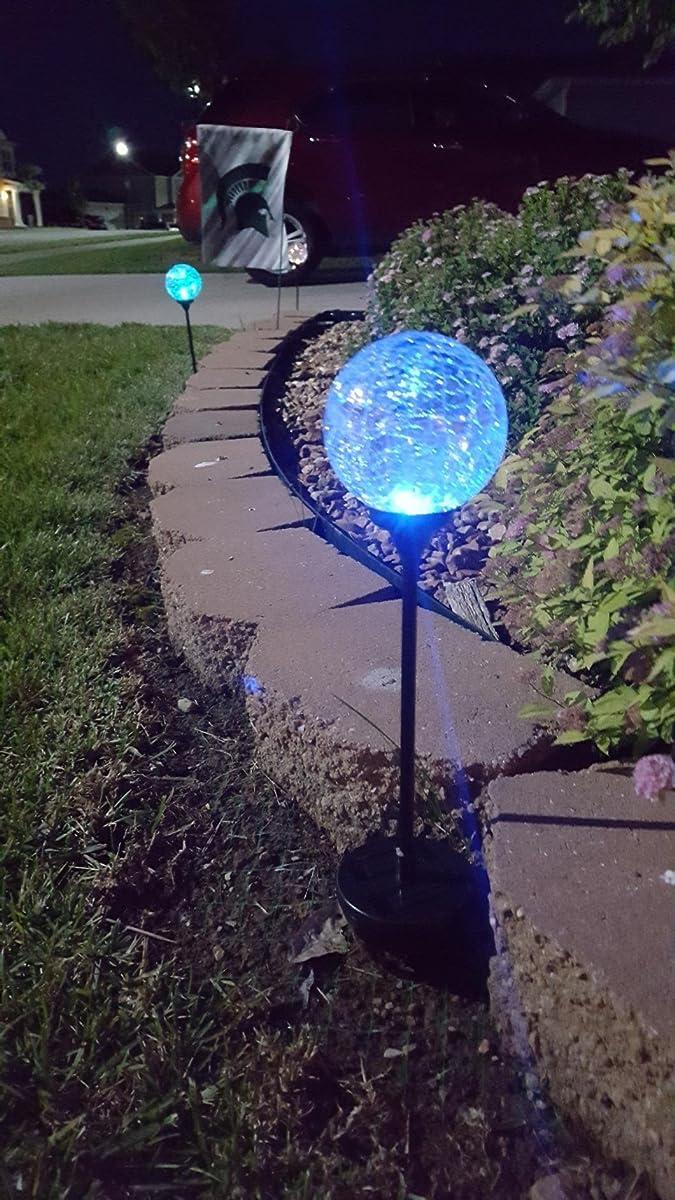 Solar Garden Stake Lights 3 Pack Cracked Glass Led