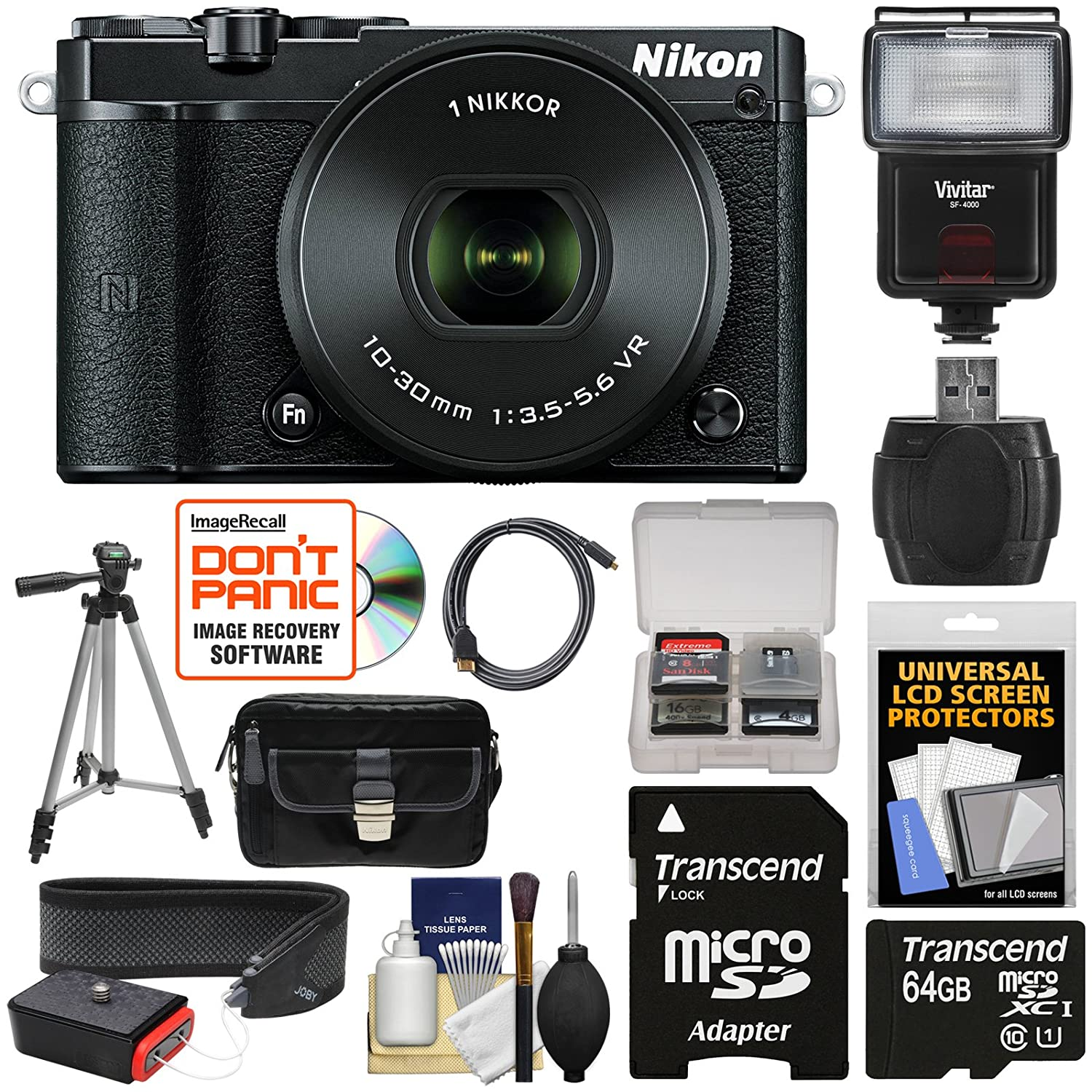 Nikon 1 J5 Wi-Fi Digital Camera & 10-30mm Lens (Black) with 64GB Card + Sling Strap + Case + Tripod + Flash + Kit