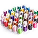 Simthread Brother 40 Color Polyester Embroidery Machine Thread Kit for Brother Babylock Janome Singer Husqvarna Bernina Embroidery and Sewing Machines (Color: 40 Color)