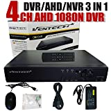 DVR 4 Channel Ventech 1080 3 in 1 ch Hybrid Surveillance Recorder Security Systems HDMI Output QR Code Set Up Push Alerts on Cell Phones & Free App P2P 720P 960P 1080P AHD